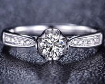 Round Cut Moissanite Engagement Ring 14k White Gold Forever One Moissanite Ring Art Deco Diamond Ring Charles & Colvard