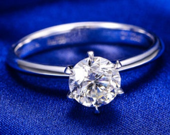 Items similar to Diamond Moissanite Engagement Ring Wedding Ring 14K Rose Gold with 6.5mm Round Forever Brilliant Moissanite Etsy Fine Jewelry Gems - V1026 on Etsy