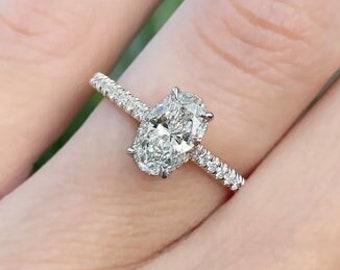 1.40ct Oval Cut Diamond Engagement Ring Hidden Halo 14k White Gold Palladium Platinum Handmade Diamond Ring Classic Anniversary Ring