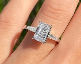 1.90ct E VS2 Emerald Cut Diamond Engagement Ring 3 Stone 14k White Gold Palladium Platinum Handmade Diamond Ring Unique Anniversary Ring