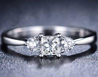 Princess Cut Moissanite Engagement Ring 14k White Gold Forever One Moissanite Ring Art Deco Diamond Ring Charles & Colvard