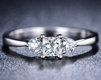 Princess Cut Diamond Engagement Ring Platinum Diamond Ring Art Deco Anniversary Ring