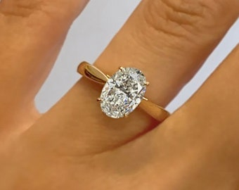 2.01ct F VS2 Oval Cut Lab Grown Diamond Engagement Ring Solitaire 14k Yellow Gold Handmade Certified Lab Created Diamond Ring