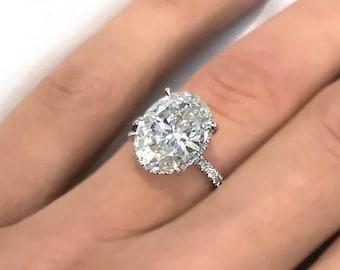 2.82ct F VS1 Oval Cut Lab Grown Diamond Engagement Ring Hidden Halo 14k White Gold Handmade Certified Lab Created Diamond Ring