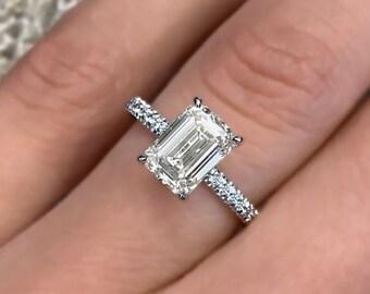 1.70ct E VS2 Emerald Cut Diamond Engagement Ring 14k White Gold Palladium Platinum Handmade Diamond Ring Classic Anniversary Ring