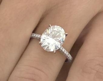 3.15ct F VS2 Oval Cut Lab Grown Diamond Engagement Ring Hidden Halo 14k White Gold Handmade Certified Lab Created Diamond Ring