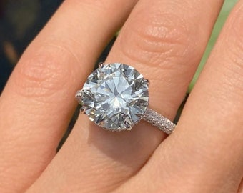 Round Cut Moissanite Engagement Ring Hidden Halo 14k White Gold Palladium Platinum Handmade Diamond Ring Classic Anniversary Ring