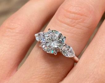 2.60ct Round Cut Diamond Engagement Ring 3-Stone 14k White Gold Palladium Platinum Handmade Diamond Ring Classic Anniversary Ring