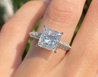 Princess Cut Moissanite Engagement Ring 14k White Gold Palladium Platinum Handmade Unique Diamond Ring Art Deco Anniversary Ring