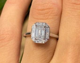 1.70 carat Emerald Cut Diamond Engagement Ring 14k White Gold Palladium Platinum Handmade Hidden Halo Diamond Ring Classic Anniversary Ring