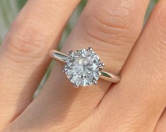 3ct Round Cut Diamond Engagement Ring Solitaire 6-Prongs 14k White Gold Palladium Platinum Handmade Diamond Ring Classic Anniversary Ring