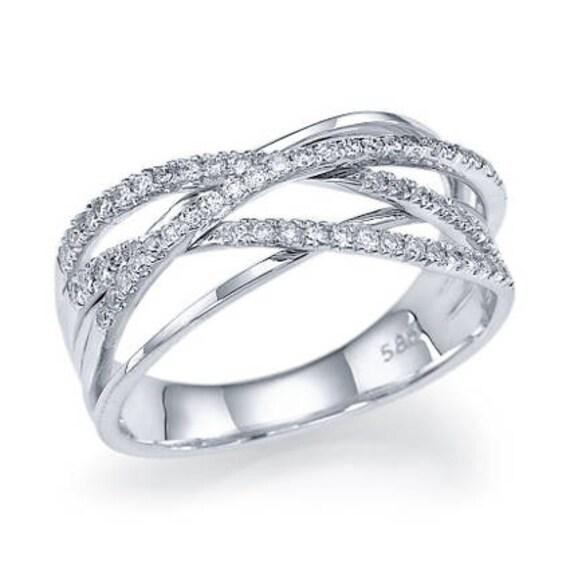 Criss Cross Diamond Wedding Band 14k White Gold Or 14k Yellow Etsy