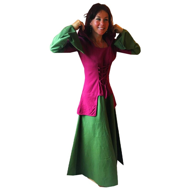 long green red medieval hood hooded maiden CORSET DRESS wicca pagan S M L XL
