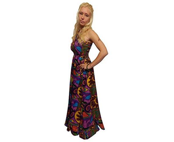 long purple green printed cotton MAXI PRINT DRESS S M 8 10 12 14 boho hippy fae