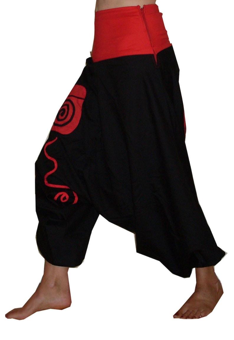 woven cotton men and women ali baba harem pants WIDE TROUSERS red black purple yoga 8 10 12 14 S M L boho psy hippie green SWIRLY
