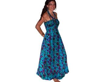 floaty long blue purple COTTON MAXI summer beach DRESS skirt S M 8 10 12 14 boho