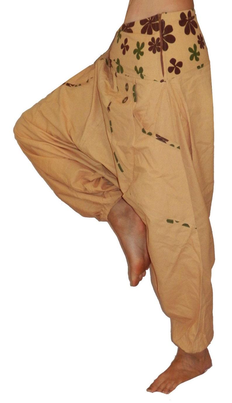 beige brown green ali baba harem genie TROUSERS 6 8 10 S M yoga hippie boho alt
