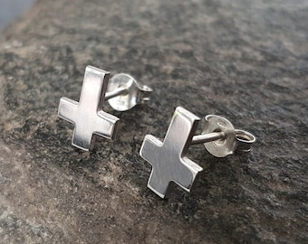 Inverted cross stud earrings