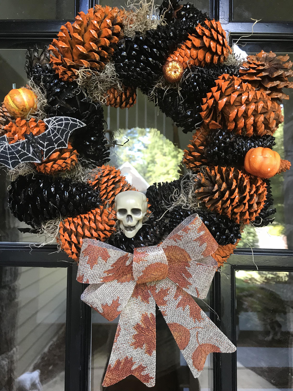 Halloween Pine Cone Wreath Halloween Wreath Pinecone