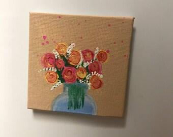 Square Mini Canvas Roses Magnet