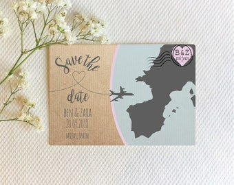 Save the date card, Save the date postcard, wedding abroad save the date invitation, overseas wedding save the date postcard