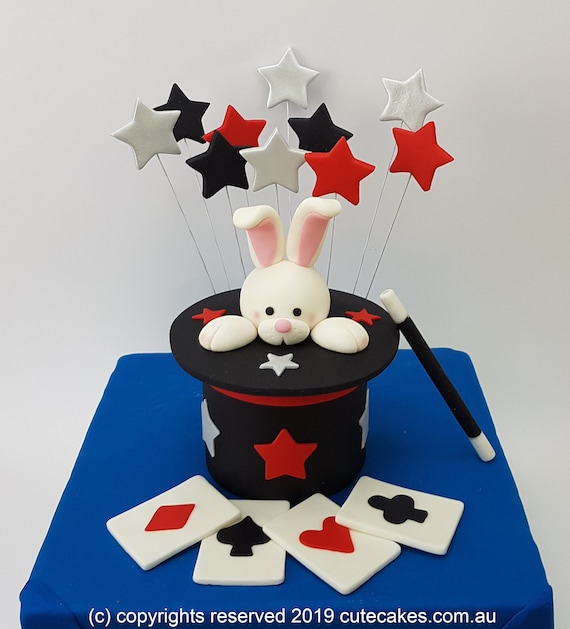 Fabulous Magic Hat Cake Topper Card Pack Wand Stars Magician Vegas Etsy Personalised Birthday Cards Beptaeletsinfo
