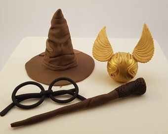 Harry Potter Cake Topper 3D Edible Gold Snitch Wand Magic Sorting Hat Wizard Figurines Party Decoration Suger Craft Hogwarts