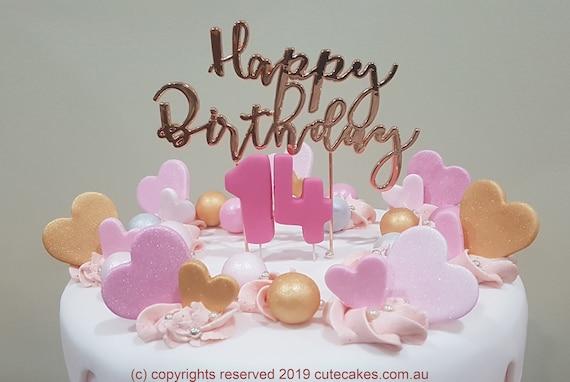 Remarkable Love Hearts Happy Birthday Cake Topper Pearls Rose Gold Hot Etsy Funny Birthday Cards Online Amentibdeldamsfinfo