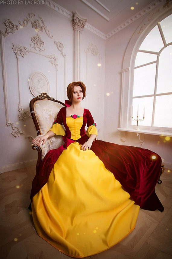 Belle Cosplay Red Dress Beauty And The Beast Halloween Etsy