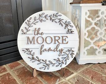 Shiplap Round Framed Sign Personalized Modern Farmhouse Monogram Wedding Gift Mantle Decor 3D