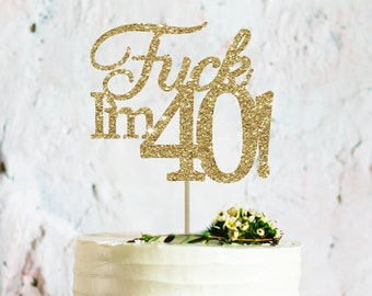 40 cake topper 40th cake topper 40th birthday party decoration 40th birthday topper thirty topper gold cake topper 40 birthday topper