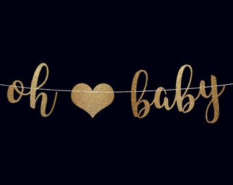 Oh baby banner baby shower banner pregnancy banner baby shower decor baby announcement baby shower decoration baby boy baby girl