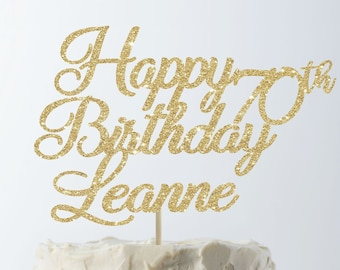 Happy Birthday Cake Topper 70th Custom Personalized Decor