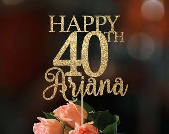 40th birthday cake topper 40th birthday decor 40 cake topper happy 40th birthday custom cake topper birthday decoration birthday cake topper