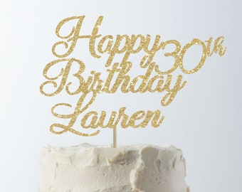 Happy Birthday Cake Topper 30th Custom Personalized Decor
