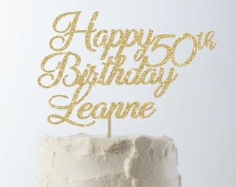 Happy Birthday Cake Topper 50th Custom Personalized Decor