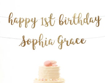 Happy 1st Birthday Banner Custom First Decoration Gold Girl Personalized