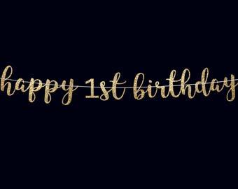 Birthday banner happy 1st birthday banner first birthday banner 1st birthday party decoration birthday banner girl birthday banner boy