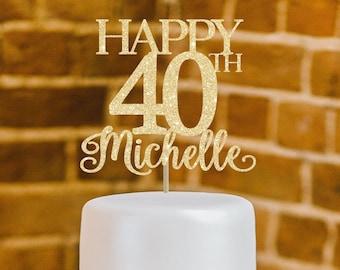 40th Birthday Cake Topper Decor 40 Happy Custom Decoration