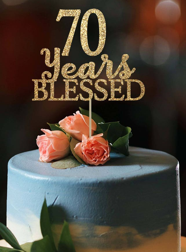 70 Years Blessed Cake Topper Birthday Decoration 70th Gold