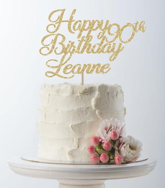 Groovy Happy Birthday Cake Topper 90Th Birthday Custom Cake Topper Etsy Personalised Birthday Cards Veneteletsinfo