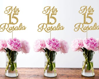 15th birthday centerpiece 15 centerpiece 15th birthday decor 15th birthday party quinceanera gold party decor mis quince custom centerpiece