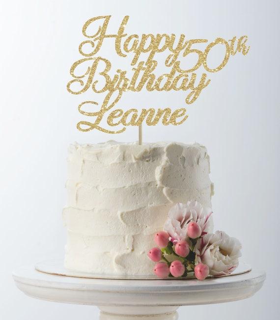 Astonishing Happy Birthday Cake Topper 50Th Birthday Custom Cake Topper Etsy Birthday Cards Printable Opercafe Filternl
