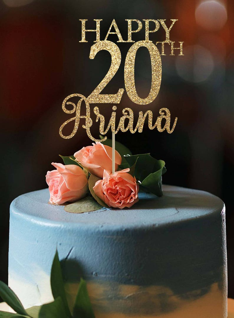 20th Birthday Cake Topper Any Age Cake Topper Happy 20th Topper Birthday Party Decor 20th Birthday Party 20th Cake Topper Custom Cake Topper