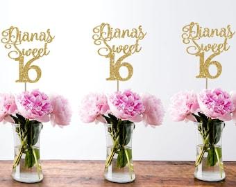 16th birthday centerpiece sweet 16 centerpiece 16th birthday decor 16th birthday party sweet 16 gold party decor sweet sixteen centerpiece