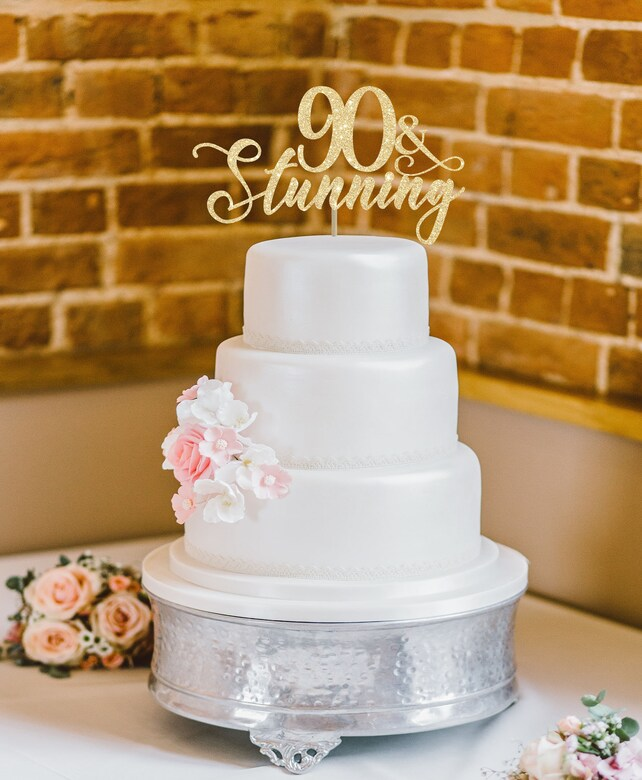 90 And Stunning Cake Topper 90th Birthday Party Decoration Custom