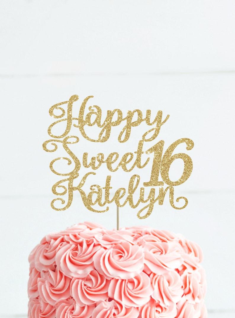 Sweet 16 Cake Topper Custom 16th Birthday Party