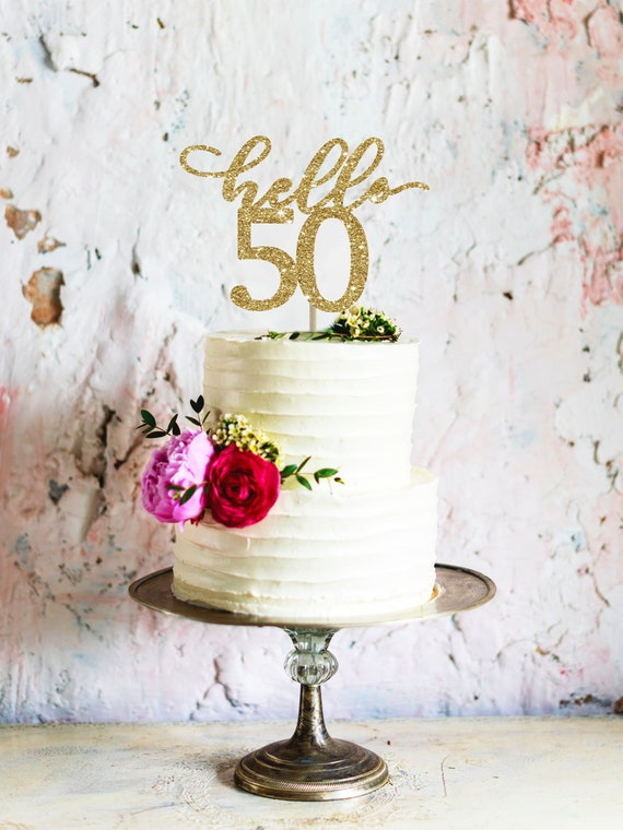 Hello 50 Cake Topper Birthday For Her