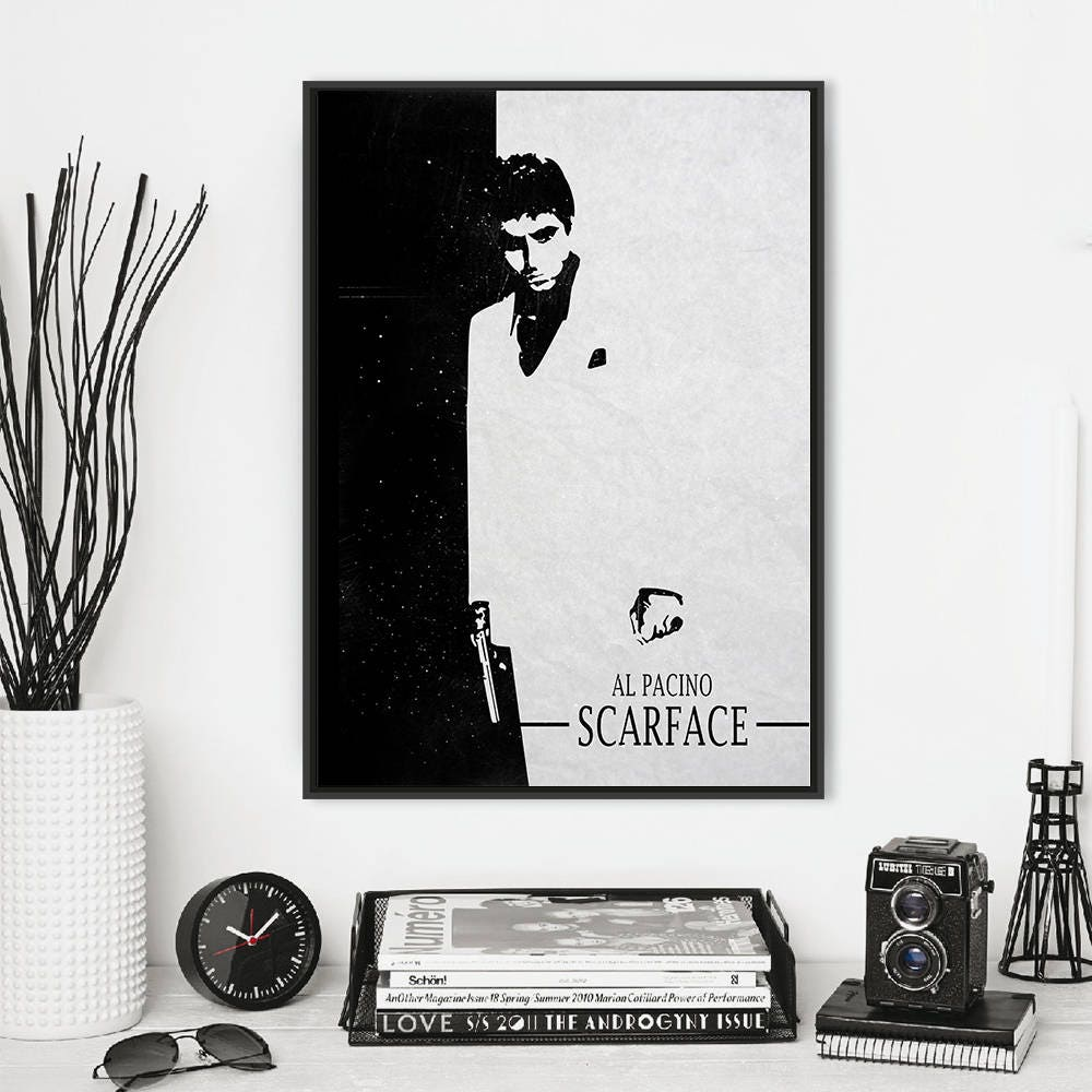 Scarface minimalist movie print. Stylish black and white wall