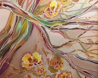 """Painting on Silk """"Branches"""". Batik Painting. Unique gift"""